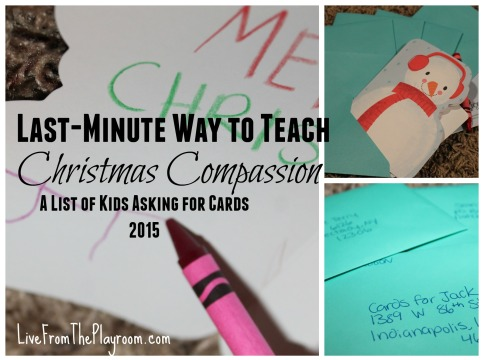 An easy way to teach christmas compassion is with cards those in need