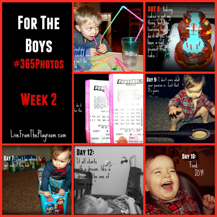 Take a photo everyday for a year and attach a message for your child. Week 2 #FortheBoys365
