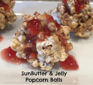 Sunbutter and jelly popcorn balls, perfect for nut allergies!